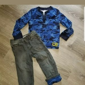 Other - Crazy 8 boys 3t camo jeans/shirts 4pc 2 sets